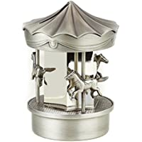 PEWTER/ SILVER CAROUSEL BANK - SILVERPLATE AND PEWTER FINISH CAROUSEL