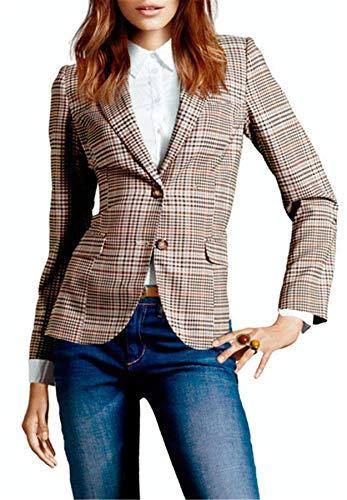 MWW Damen Büro-Blazer Langarm Jacken Slim Fit Outwear - beige - US 8 -