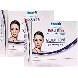 Healthvit Bath and Body Glutathione Skin Whitening Soap, 75g (Pack of 2)