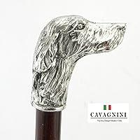 Bastón de paseo,estaño y madera,sólida setter perro mango de metal,para la ceremonia,elegante,adaptable,Cavagnini Italia
