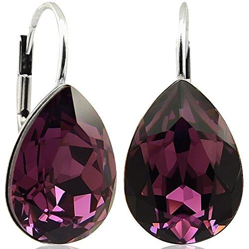 Ohrringe mit Kristallen von Swarovski® Lila Silber Tropfen NOBEL SCHMUCK (Kristall Schmuck Lila)