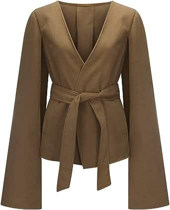 Bienwwow - Cappotto da donna con risvolto e cintura auto-cravatta