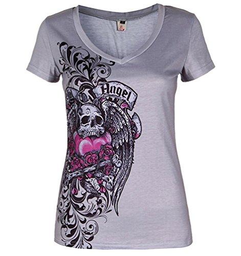 Ghope Damen Gothic Totenkopf T-Shirt V-Ausschnitt Schädel Blumen Druck Top mit Racerback Yoga Ärmel Oberteil Farbe 5