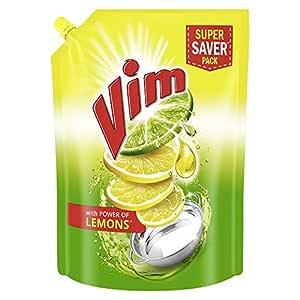 Vim Dishwash Liquid Gel Lemon Refill Pouch, With Lemon Fragrance, Leaves No Residue, Grease Cleaner For All Utensils, 2 Ltr