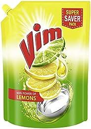 Vim Dishwash Liquid Gel Lemon Refill Pouch, With Lemon Fragrance, Leaves No Residue, Grease Cleaner For All Ut