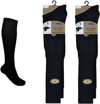 6 Pairs Mens Extra Long 100% Cotton Socks - Mens Long Hose Socks