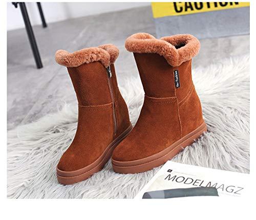 Fan scarpe da donna con rialzo interno/stivali da neve/scarpe nuove autunno/inverno/scarpe calde in cotone caldo (colore : nero, dimensione : 38)