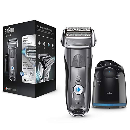 Bild des Produktes 'Braun Series 7 Elektrorasierer Herren 7865cc Premium Edition, mit Reinigungs- und Ladestation, Reise-Etui, grau'