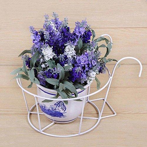 CJH 3 Pièces de style Européen Garde-corps Racks Fer à Fleurs Racks Suspendus Fleur Pot Pot De Fer Pot De Fleur Balcon ( Color : White )