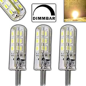 PB-Versand Lot de 3ampoules LED G4 1.5W 24SMD 12V DC 125lumen 360° Éclairage pour culot à broches de type halogène à variateur d'intensité Blanc froid