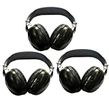 3 Pack of Two Channel Folding Universal Rear Entertainment System Infrared Headphones Wireless IR DVD Player Head Phones Sets for in Car TV Video Audio Listening headsets