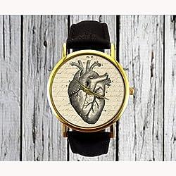 Vendimia reloj señoras de cuero reloj del corazón del reloj para mujer del reloj del regalo del reloj de los hombres de su reloj idea ( Color : Negro , Género : Para Mujer )