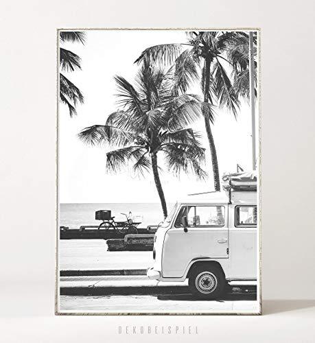 DIN A4 Kunstdruck Bild RETRO BEACH -ungerahmt- Palme, tropisch, Strand, Surfen, Sommer, Bus, Reisen, vintage