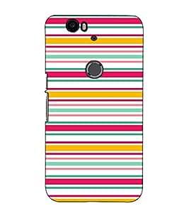 Fuson Designer Back Case Cover for Huawei Nexus 6P :: Huawei Google Nexus 6P (Strips Colourful Theme)