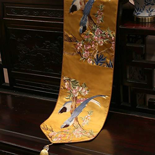 ZXF Blume und Vogel Tischläufer scharfe Ecke mit Quaste Tischdecke Satin chinesische Klassische Tischdecke Table Runner (Color : B, Size : 33 * 210cm) - Satin Gesticktes A-linie