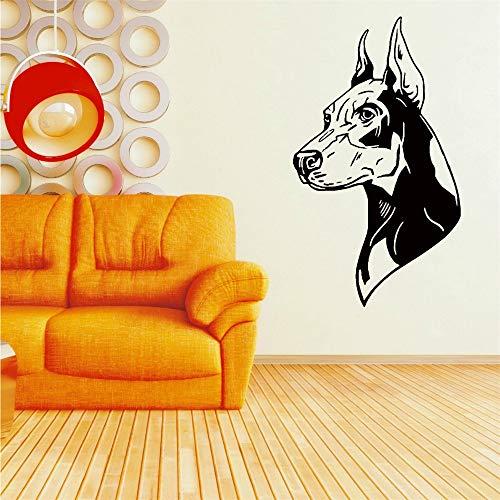 Heißer Verkauf Home Wand Dekorative Wandtattoo Dobermann Hund Rechts Und Links Wandaufkleber Vinyl Wandbild Für Schlafzimmer Dekor 98 * 57 cm -