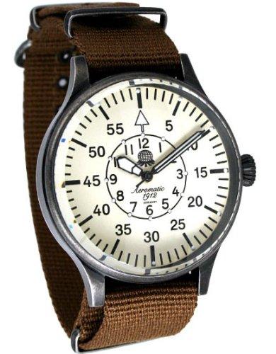 Aeromatic 1912 A1355 Aeromatic A1355 - Reloj para hombres, correa de nailon color marrón