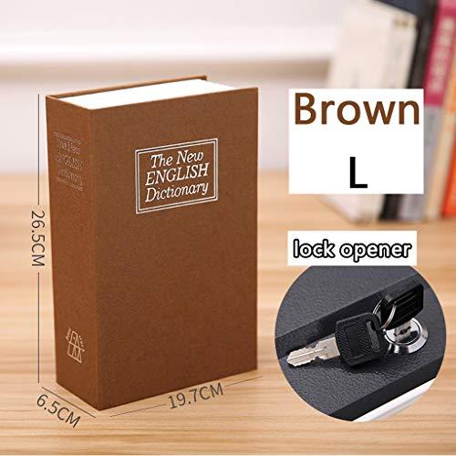 Safe Buch Umleitungsbuch Safe Aufbewahrungsbox Wörterbuch Geheimer Safe Mit Sicherheitscode Schloss (klein Mittel Groß, Browe-Kombination) (Color : Lock Opener, Size : L) (Buch Safe-kombination)