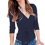 TIREOW Damen Sexy V-Ausschnitt Wickelshirt Kurzarm/Langarm Slim Fit Shirt Bluse Obertail