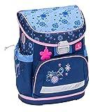 Belmil Ergonomischer Schulranzen Mädchen 1. Klasse mit Brustgurt - Super Leichte 765-820 g/Grundschule / Blumen/Blau, Pink (Folk Love)
