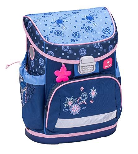 Ergonomischer Schulranzen mit Brustgurt für die Grundschule 1-2 Klasse - Superlight/Mädchen / Blumen-Motiv Blau von Belmil (Folk Love)