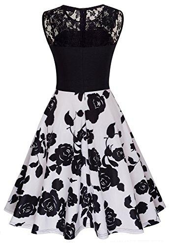 HOMEYEE Damen Elegant Spitze Rundhalsausschnitt Ärmel Mesh-A-Linie Kleid UKA008 Schwarz + Weiß