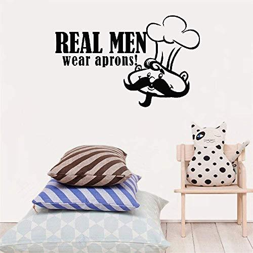wandaufkleber 3d Wandaufkleber Schlafzimmer Großer Bart Koch mit einer Kappe Esszimmer Einrichtungs dekorative echte Männer tragen Schürzen Aufkleber