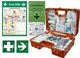 Erste-Hilfe-Koffer Quick -Komplettpaket- mit 'Notfallbeatmungshilfe' für Betriebe DIN/EN 13157 + DIN 13164 - inkl. 1. Hilfe Aufkleber & Aushang