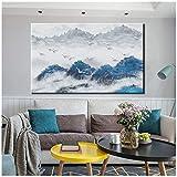 Malerei, abstrakt, modern, Landschaft, Ölgemälde, auf Leinwand, Blau, Forest, weiße Landschaften, Vögel, Leinwand, Wandbild, Bild für zu Hause, 60 x 90 cm, No Frame