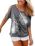 Yidarton T-Shirt Femme Eté Manche Courte Casual épaules Haut Blouse Imprimé Plume Dénudées Top (XL, Gris)