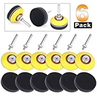 6 Pack Sanding Discs Pad Kit, TopDirect 2 Inch (50mm) Hook and Loop Sanding Pad for Sanding Discs with 1/4 Inches Shank Drill Attachment and Soft Foam Layer Buffering Pad