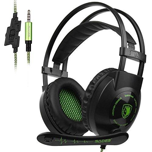 ES SA801 Xbox One PS4 Gaming Headset 3.5mm Klinke mit versenkbarem Mikrofon für PC Laptop Mobiltelefon ()