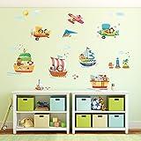 Decowall DAT-1506 Barcos de Animales y 3 Biplanos Vinilo Pegatinas Decorativas Adhesiva Pared Dormitorio Salón Guardería Habitación Infantiles Niños Bebés