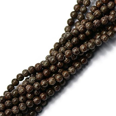 Café 6mm Flocon Brun Jaspe Obsidienne Perles En Vrac 15