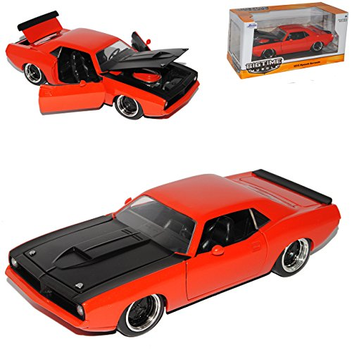 Barracuda-auto-modell (Plymouth Barracuda Coupe Orange 1973 1/24 Jada Modell Auto)