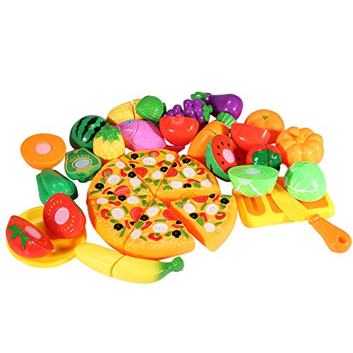 ThinkMax 24 pcs Play Cutting Food, Fruits and Vegetables Kitchen Pretend Play Set, Educational Plastic Party Toy for Kids and Children