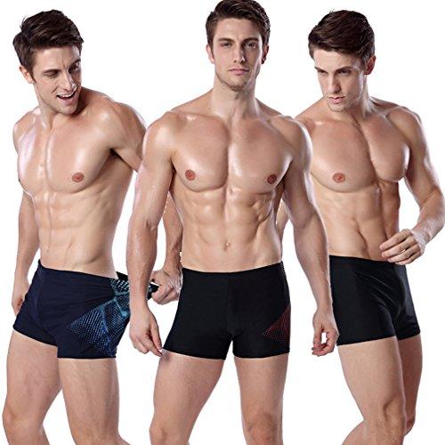 Honghu Shorts de bain Slips Laçage Homme Rouge