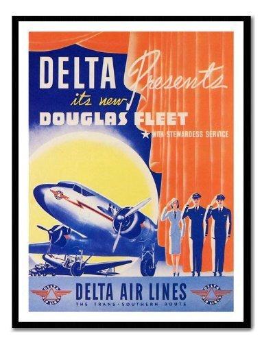 delta-air-lines-douglas-dc2-decada-de-1940-viaje-de-pizarra-magnetica-negro-enmarcado-41-x-31-cms-ap