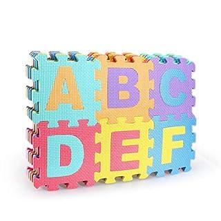 Hochwertig BPA-Frei Puzzlematte 26 Spielmatten mit Buchstaben von A-Z Kinder-Spielteppich kälteisolierend Schaumstoffmatte Schall-Dämmung Spielpolster gegen kalte Böden Fußbodenkälte Krabbelmatte