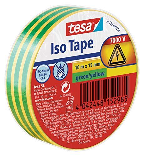 Tesa Isolierband,  grün/gelb, 10m:15mm