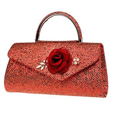 pwne Frauen Abend Beutel Polyester Alle Jahreszeiten Hochzeit Event / Party Formalen Kreativen Strass Satin Flower Pearl Details Magneticred Schwarz Red