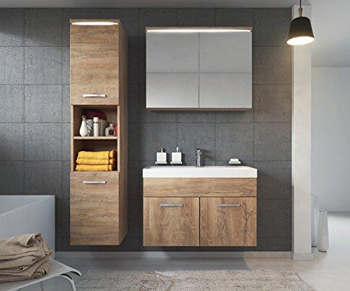 Badezimmer Badmöbel Paso LED 80 cm Waschbecken Lefkas (Braun) - Unterschrank Hochschrank Waschbecken Spiegelschrank