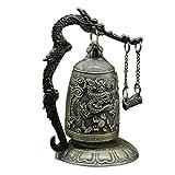 MagiDeal Orientalische Drachen Glocken mit Ständer, Fengshui Deko für Garten Tempel