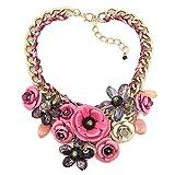 Korliya, collana a girocollo da donna, con grande fiore e base metal, colore: Rose Pink, cod. Korliya_KSEB_A42_NKE01
