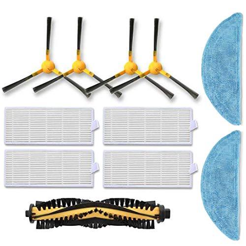 11-teiliges Ersatzteilset für Tesvor X500, 4 Seitenbürsten, 1 Rollenbürste, 4 Filter, 2 Mopes, Zubehör/Ersatzteile für Tesvor X500 -