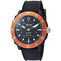 Alpina hombres del 'Horological Smart de cuarzo acero inoxidable y goma reloj deportivo, color: negro (modelo: al-282lbo4V6)