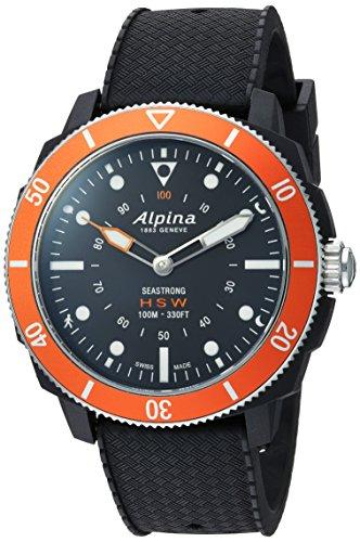 Alpina Men's 'Horological Smart' Quartz Stainless Steel and Rubber Sport Watch, Color:Black (Model: AL-282LBO4V6)