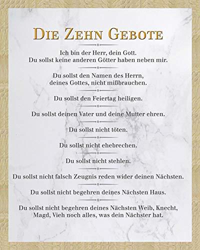 Gebote - Weiß - Inspirations Mini Poster Plakat Druck - Größe 40x50 + Wechselrahmen, Shinsuke® Mini MDF Eiche, Acryl-Scheibe ()