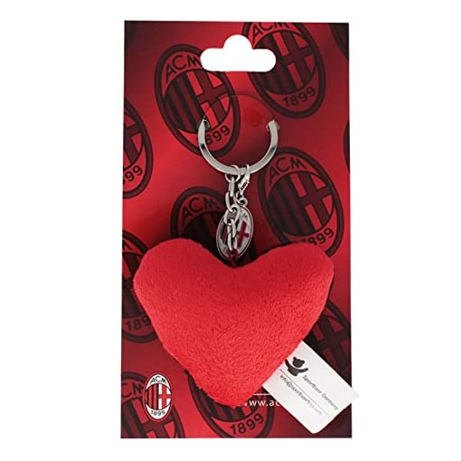 Sportbaer-24137-AC-Milan-Heart-Keyring-with-Charm-red