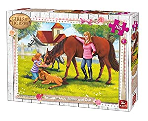 King Girls & Horses Getting Know Mother&Foal 100 pcs Puzzle - Rompecabezas (Puzzle Rompecabezas, Dibujos, Niños, Chica, 5 año(s), Cartón)